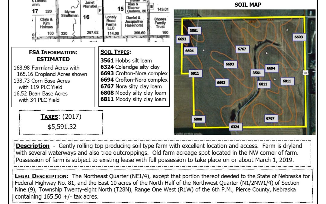 165.50 +/- Acres Cropland Pierce Co, NE;   SOLD