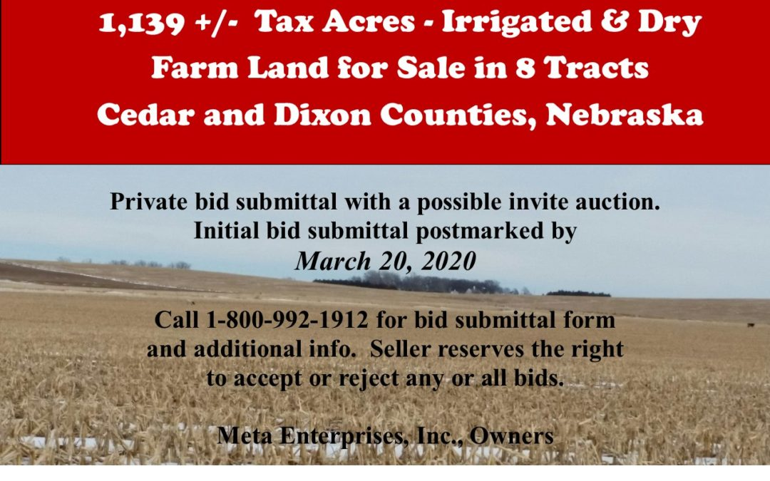 1,139 +/- Tax Acres – Irrigated & Dry Farm Land For Sale in 8 Tracts, Cedar & Dixon Counties, NE