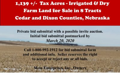 1,139 +/- Tax Acres – Irrigated & Dry Farm Land For Sale in 8 Tracts, Cedar & Dixon Counties, NE – SALE PENDING