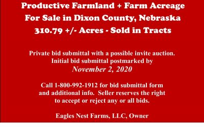 Productive Farmland + Farm Acreage for Sale in Dixon County, NE  310.79 +/- tax acres; To Be Sold in Tracts
