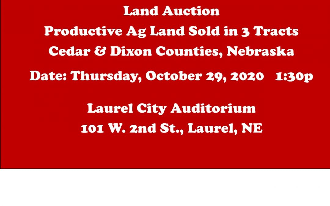 Upcoming Land Auction – Thursday, October 29, 2020 1:30 PM at Laurel City Auditorium