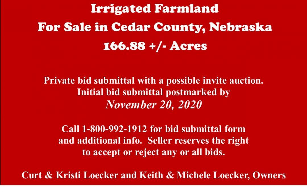 Irrigated Farmland for Sale in Cedar County, NE  166.88 +/- tax acres