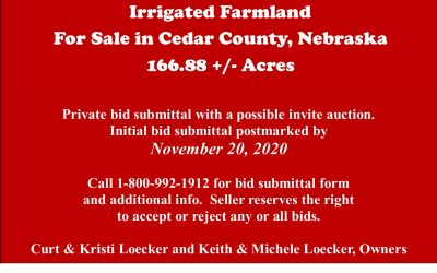 Irrigated Farmland for Sale in Cedar County, NE  166.88 +/- tax acres