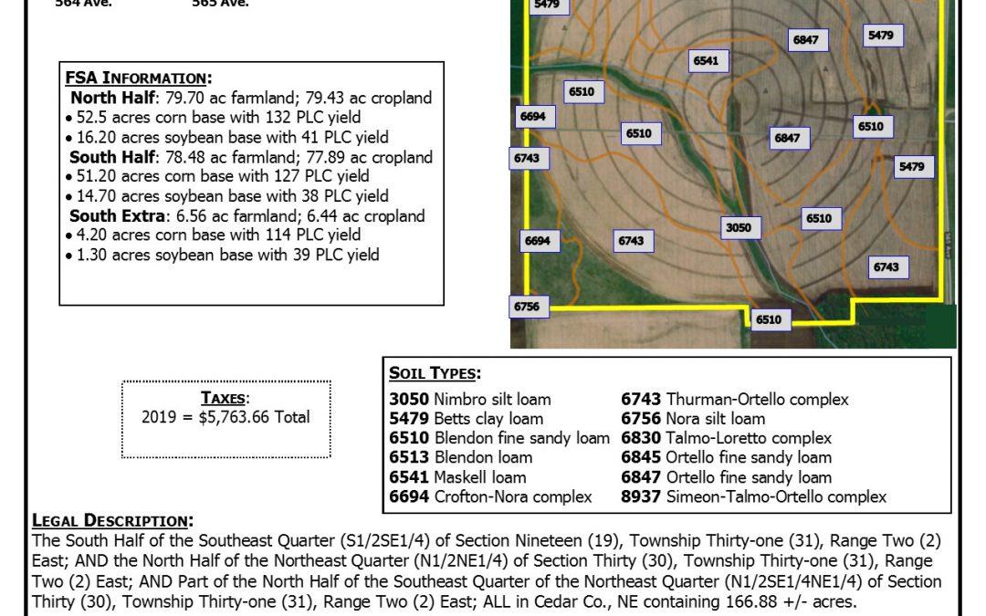 Irrigated Farmland for Sale in Cedar County, NE  166.88 +/- tax acres SOLD
