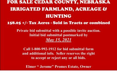 For Sale in Cedar County, NE; Irrigated Farmland, Acreage, & Hunting