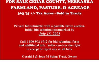 For Sale in Cedar County, NE | Farmland, Pasture, and Acreage