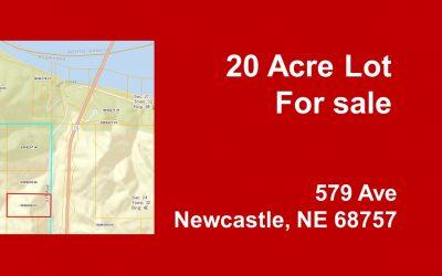 20 acre lot, Newcastle, NE 68757 | 1/2 mile from Missouri River | SALE PENDING