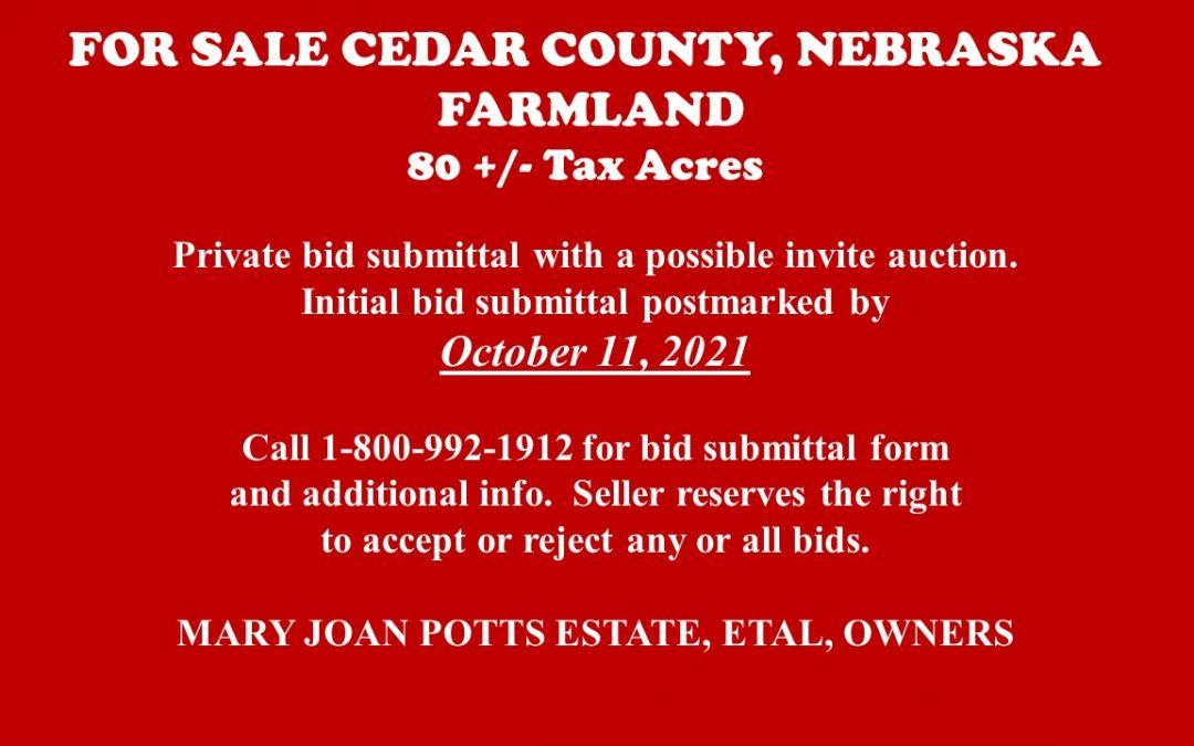 For Sale in Cedar County, NE | Farmland 80 +/- acres – SALE PENDING