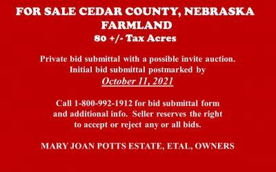 For Sale in Cedar County, NE   Farmland 80 +/- acres – SALE PENDING